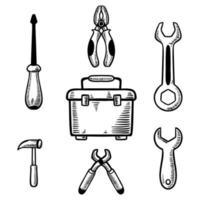 conjunto de ferramentas de trabalho ilustração vetorial desenhada à mão vetor