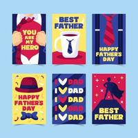 conjunto de cartões modernos para o dia dos pais vetor