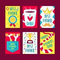 conjunto de 6 cartões comemorativos para o dia dos pais vetor