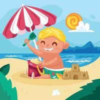 menino brincando na praia em um dia de verão vetor