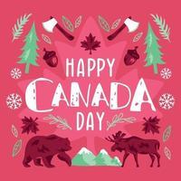fundo tipográfico para o dia do Canadá vetor