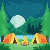 fundo de paisagem de acampamento de verão vetor