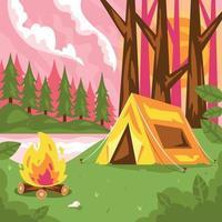 paisagem de acampamento de montanha de verão vetor