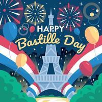 noite de celebração do dia da bastilha na França vetor