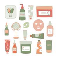 conjunto de ilustração vetorial plana de produtos para a pele vetor