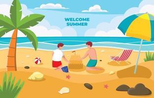 atividade de verão na praia vetor