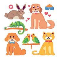 conjunto de personagens de animais de estimação vetor