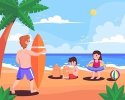 atividade de praia nas férias de verão vetor