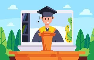 conceito de cerimônia de formatura virtual vetor
