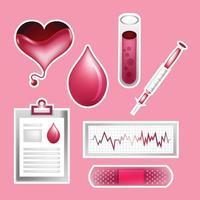 modelo de conjunto de adesivos de doação de sangue vetor