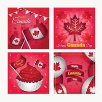 conjunto de cartão feliz dia canadense vetor
