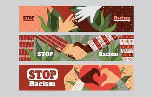 conjunto de modelos de banner pare o racismo vetor