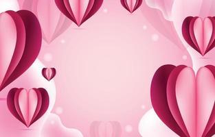 fundo rosa com modelo de coração realista vetor