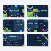 conjunto de modelo de cartão de visita colorido abstrato vetor