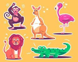 coleção de personagens de animais do zoológico vetor