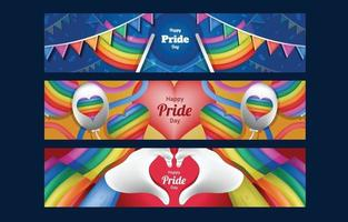 modelo de conjunto de banner colorido feliz dia do orgulho vetor