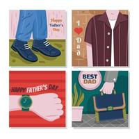 conjunto de cartões de feliz dia dos pais vetor