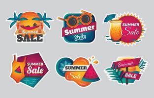 conjunto de modelos de adesivos de venda de verão vetor