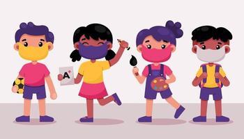 personagem infantil com diferentes atividades escolares vetor