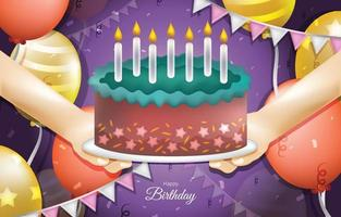 feliz aniversário com bolo e balões vetor