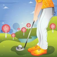 jogando golfe no fundo do campo vetor