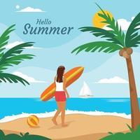 olá fundo de praia de verão vetor
