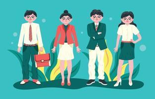 conjunto de caracteres de homens e mulheres de negócios vetor
