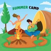 casal em projeto de acampamento de verão vetor