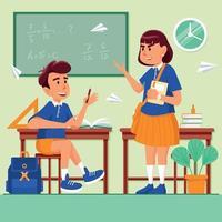 alunos reunidos em sala de aula vetor