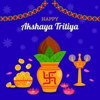 fundo de akshaya tritiya em design plano vetor