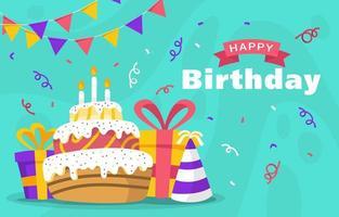 feliz aniversário saudação fundo vetor