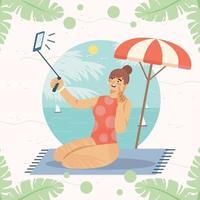 mulher tira uma selfie na praia conceito vetor