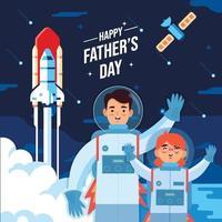 pai e filho do espaço no conceito de celebração do dia dos pais vetor