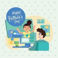 pai recebe mensagem de conceito de filho vetor
