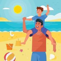 pai e filho brincam no conceito de praia vetor