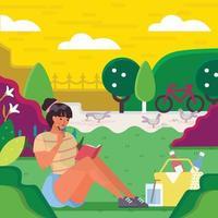 mulher leu um livro no parque sobre seu conceito de tempo de lazer vetor