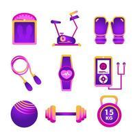 ícone ginásio roxo em casa vetor