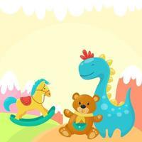 fundo de brinquedos de criança fofa vetor