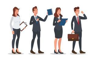conjunto de design de personagens de negócios executivos vetor