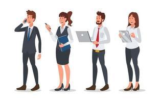 conjunto de design de personagens de empresários vetor