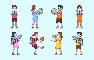 conjunto de ícones lúdico de educação infantil vetor