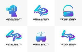 Conjunto de logotipo gradiente simples de tecnologia de realidade virtual vr vetor