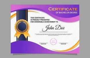 modelo de design de certificado de realização de formatura escolar vetor