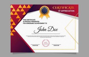 modelo de design de certificado de apreciação escolar vetor