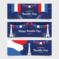banner de cartão comemorativo do dia da bastilha vetor