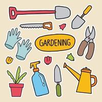 coleção de adesivos de elementos de jardinagem desenhados à mão vetor
