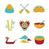 conjunto de ícones do dragão barco festival vetor