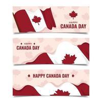 coleção de banner feliz dia canadense vetor