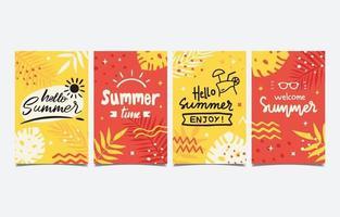 coleção de cartões de verão desenhada à mão vetor