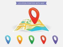 mapa de localização com ponteiros de cores diferentes vetor